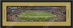 One framed large New Orleans Saints stadium panoramic, double matted in team colors to 39 x 13.5 inches.  The lines show the bottom mat color.  $129.99 @ ArtandMore.com