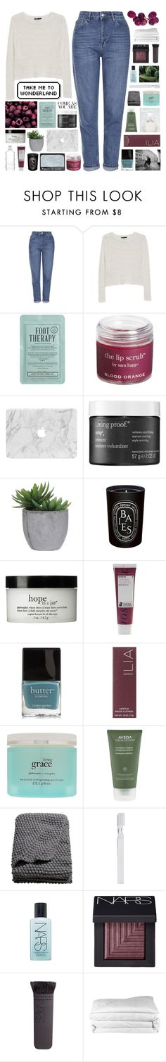 """♥ ana + elena ♥"" by nanarachel ❤ liked on Polyvore featuring Topshop, MANGO, Kocostar, Sara Happ, Living Proof, Lux-Art Silks, Diptyque, philosophy, Korres and Butter London"