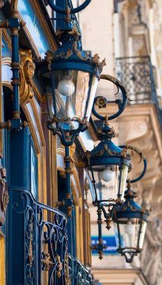 Paris Photography - Blue Lanterns, Architectural Fine Art Photo, Blue and Gold French Home Decor, Large Wall Art - Architecture Paris 3, I Love Paris, Paris Street, Montmartre Paris, Paris City, Fine Art Photo, Photo Art, Beaux Arts Paris, Blue Lantern