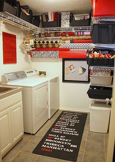 I love how this laundry room features accessible items made gorgeous. The wire shelving is cheap (extra in my garage even) with standard appliances but the final product is so fun.