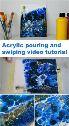 Learn how to fluid paint this deep sea currents acrylic pouring and swiping painting. Flow Painting, Pour Painting, Painting & Drawing, Knife Painting, Acrylic Painting Techniques, Painting Lessons, Painting Tips, Acrylic Pouring Art, Acrylic Art