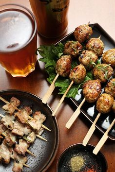 2 Recipes: Pork Belly Shiso Basil Skewers / Tori Tsukune (Japanese Grilled Chicken Meatballs) - for BBQ :: I miss Japanese food. Pork Recipes, Asian Recipes, Real Food Recipes, Cooking Recipes, Ethnic Recipes, Shiso Recipe, Good Food, Yummy Food, Pork Belly