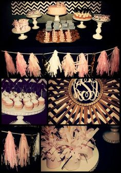 "Photo 17 of 20: Black/white chevron, pale pink, & gold / Birthday ""26th Birthday"" 