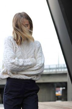 long bob, white knit & black pants #hair #style #fashion