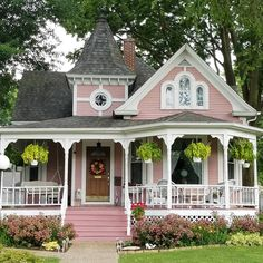 Old Victorian Homes, Victorian Cottage, Vintage Homes, Victorian Houses, Red Houses, Old Farm Houses, Small Cottages, Cabins And Cottages, Storybook Homes