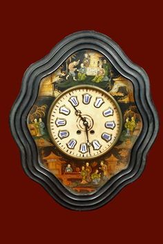_MG_057 French Clock, Vintage Clocks, Marquetry, Geometry, 19th Century, Symbols, Patterns, Antiques, Home Decor