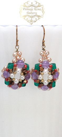 Byzantine style earrings - Amethyst Gemstones - Embroidered Earrings - Glass - Vintage pearls - Artistic Earrings Byzantine style and colours dangle earrings , really sophisticated and stylish . I used emerald green bicone glass , gold crystals , vintage pearls , red to orange
