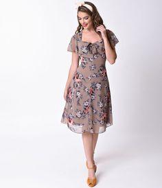 Vestido de oscilación demonios conejito 1940 Estilo Tan manga corta floral del acebo