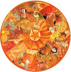 Kare Grayson MFA. Orange Mandala paper collage photo print. Also available as mounted round.