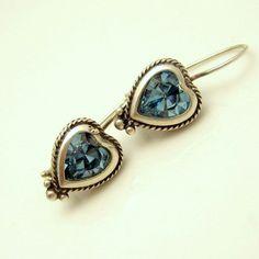 Blue Foiled Aqua Glass Sterling Silver Vintage Heart Earrings Pierced #MyClassicJewelry