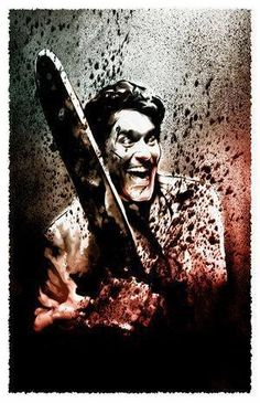 """Ash from the """"Evil Dead"""" series played by the famous Bruce Campbell. The man with the chin has gone on to star in some of the best movies that created other iconic roles (""""Bubba Ho-Tep"""", anyone?) but this role sticks out and it should. Horror Icons, Horror Films, Horror Art, Bruce Campbell, Scary Movies, Great Movies, Evil Dead Series, Ash Evil Dead, Horror Movie Characters"""
