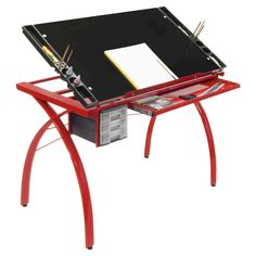 Futura Craft Station - Red/Black Glass Studio Designs' Futura Craft Station is one of the best selling craft tables. It's great for drafting, drawing, or crafting on its large tempered safety-glass work surface. The table top angle adjusts up to Craft Desk, Craft Tables, Craft Station, Safety Glass, My New Room, Black Glass, Light Table, Art Studios, Crafts To Sell