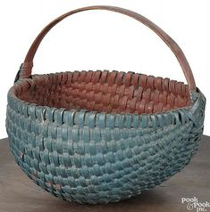 Painted God's eye basket, c., retaining an old blue surface with red interior, h. Vintage Picnic Basket, Vintage Baskets, Painted Baskets, Painted Wicker, Southern Furniture, Old Baskets, Gods Eye, Country Blue, Duck Egg Blue