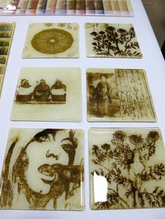 Fused Glass with pictures made of frit--Bullseye Glass