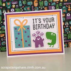 Based on card designs by Laura Beacham and Cheryl Narracott, this card, created by Denise Tarlinton, features the Monstrous Halloween stamp set and coordinating Thin Cuts, Gift Thin Cuts, Pansy, Tangerine and White Daisy Cardstock and Willow and Pansy Exclusive Inks Stamp Pads from Close To My Heart. To see more creative card designs, visit http://scrapstampshare.blogspot.com.au