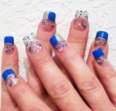 Image detail for -Blue Pink Dots On Brown Acrylic – Nail art | A1nailart.com