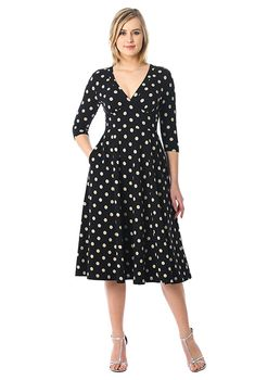 ef09b3f55d Banded empire polka dot cotton knit dress