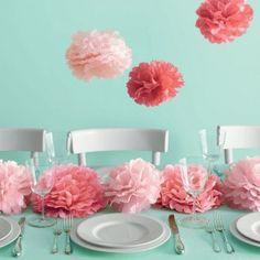 8 Medium Pink Pom Poms