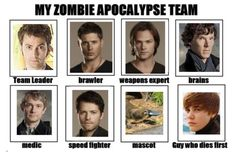 My zombie apocalypse team! AND I CAN'T BELIEVE THEY EVEN THOUGHT OF THE PLATYPUS!!!!!
