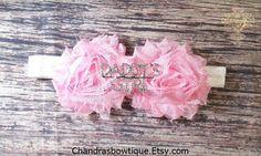 Light Pink Shabby Daddys Girl Headband / Baby Headband / Baby Girl Headband / Pink Headband / Rhinestone Headband / Infant headband / Bows by Chandrasbowtique on Etsy