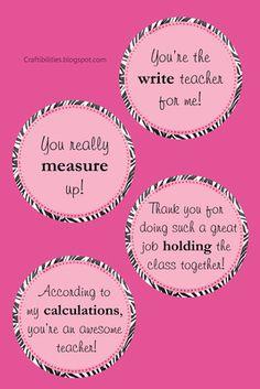 TEACHER APPRECIATION idea PART 2 - FREE downloadable tags