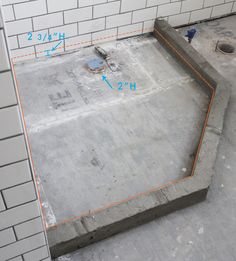 Dried cement Custom Tiled Bathroom Shower Pan