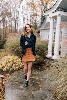 87a481d64de5e Eva Amurri Martino wears a plaid top, navy blue jacket, corduroy skirt, and