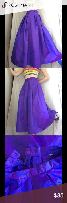 """Luster Sheen Purple Glam Structured Maxi Skirt Excellent condition. Smoke free home. No stains or tears. Pleated at waist. Measurements laying flat: waist 13.5"""", length 33"""". Pretty! Dolly. Cosplay. Royalty. Royal. Theatre. Shines.inside label says 11/12 so must have been a kids size. Reminds me of a skirt-crop top wedding brides are combo skirt. Ethereal. I think it would be amazing on the beach. Catch that sunlight. Vintage Skirts Maxi"""