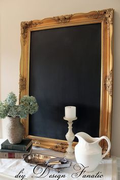 How To Make A Framed Chalkboard From A Mirror - I will definitely be doing this with the empty frame I have at home :)