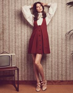 Kati Nescher Poses in 1970's Inspired Looks for The Edit - babydoll dress