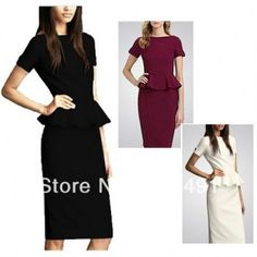 NEW ARRIVAL XXL LADIES SLIM SEXY PACKAGE HIP FASHION LARGE SIZE DRESS OL COMMUTER CAREER TEMPERAMENT FLOUNCED PENCIL DRESS