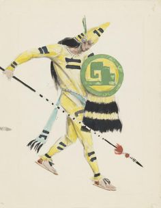 Charles Ricketts, 'Costume Design for a Warrior in 'Montezuma'' c.1925–6