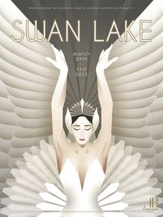 design : art deco swan lake poster - They call me ⋁⋃