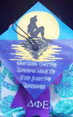 little mermaid graduation cap! #dphie #deltaphiepsilon #ΔΦΕ #gradcap #littlemermaid