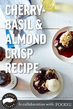 Get your cherry pitter ready: This crisp recipe is a combination of cups of fresh cherries, a bushel of fresh basil, and a crunchy, nutty topping. The basil is used to create a simple syrup, which the cherries get drenched in before going into the oven. We like to pair it with craft beer and this warm dessert basically begs for glasses of light, bubbly Sofie from Goose Island, but scoops of vanilla ice cream are also encouraged to join.