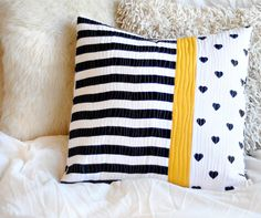 "Cushion - Quilted Pillow - Black White And Yellow - ""Sunny Road"" on Luulla"