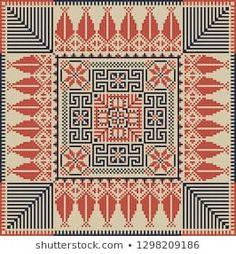 Seamless pattern design with traditional Palestinian embroidery motif Cross Stitch Geometric, Cross Stitch Bird, Cross Stitch Alphabet, Cross Stitch Designs, Cross Stitching, Cross Stitch Patterns, Bead Embroidery Patterns, Beaded Embroidery, Beading Patterns