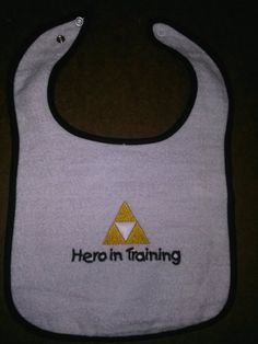 Legend of Zelda Inspired Triforce baby bib Hero in Training or Princess in Training on Etsy, $8.00