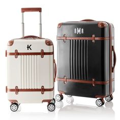 mark and graham roller carry on suitcase, luggage, spinner, white and leather straps, affordable luggage, travel tips