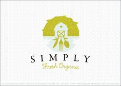 Brand New Logo for Sale: Farm fresh and organic logo design, capturing the essence of organic farming in a country-like farm setting with stylized farming vegitation encompassing a simple styilized barn. Also incorporated into the design is a knife, fork and spoon to convey the concept of organic healthy farming right to your plate.
