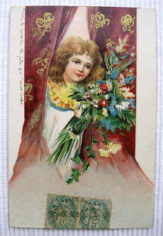 French Antique Postcard  Little Girl with Flowers by ChicEtChoc, $4.00