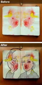 "watercolor Rorschach sketchbook idea - I've done this many times on a large scale but not the Rorschach way.  Doing abstract watercolor and then drawing on top or ""drawing what you see"" is extremely relaxing and creatively freeing.  It's like picking pictures out of the clouds."