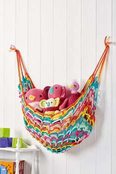 Keep your kid's room tidy with this colourful toy hammock!