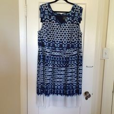 """Adrianna Papell Blue """"Batik"""" Dress Super cute dress! Shades of blue and white; lots of cute design elements. Little almost-cap sleeves. V neck front. Micro pleats all the way around. Bottom 6 inches or so of dress all white. Fully lined in navy. 100 percent polyester, (lining with 8% elastane). No PayPal or trades. Excellent condition. Worn once or twice. Adrianna Papell Dresses"""