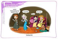 Pocket Princesses Karaoke By Amy Mebberson Disney Princess Memes, Disney Jokes, Funny Disney Memes, Princess Cartoon, Disney Cartoons, Princess Quotes, Princess Art, Princess Pics, Funny Princess