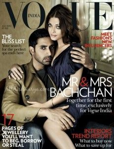 Abhishek and Aishwarya Graces Vogue India. Aishwarya Rai features on the cover of Vogue Magazine Indian edition for the month of July Aishwarya Rai pose Magazine Cover Page, Vogue Magazine Covers, Fashion Magazine Cover, Fashion Cover, Vogue Covers, Magazine Pictures, Actress Aishwarya Rai, Aishwarya Rai Bachchan, Bollywood Actress