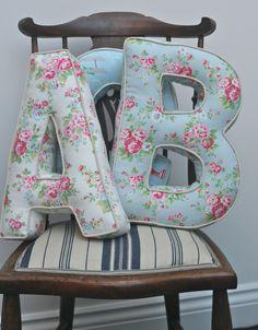 Alphabetty Letter Cushions Pillows - Cath Kidston fabrics. via Etsy.    I think I'll make something similar...