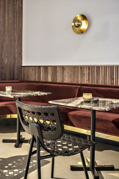 Velvet Burgundy banquette seating paired with warm timber wall panelling 🙌🏼 featuring Aërias Chair by Bar Interior Design, Restaurant Interior Design, Cafe Design, Interior Decorating, Luxury Furniture, Furniture Design, Lounge Design, Bar Lounge, Lounge Chairs