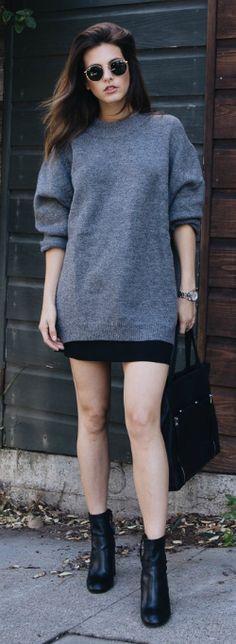 oversized knitted sweater + mini skirt + new twist + Jackie + black booties + matching leather tote + stylish monochrome aesthetic!   Sweater: Zara, Skirt: Aritzia, Boots: Rebecca Minkoff.