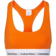Calvin Klein Underwear Stretch cotton-blend soft-cup bra ($22) ❤ liked on Polyvore featuring intimates, bras, orange, pull on bras, orange bra, calvin klein underwear, soft cup bra and racerback bra
